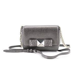 MICHAEL KORS Tina Small Silver Bow Crossbody Bag